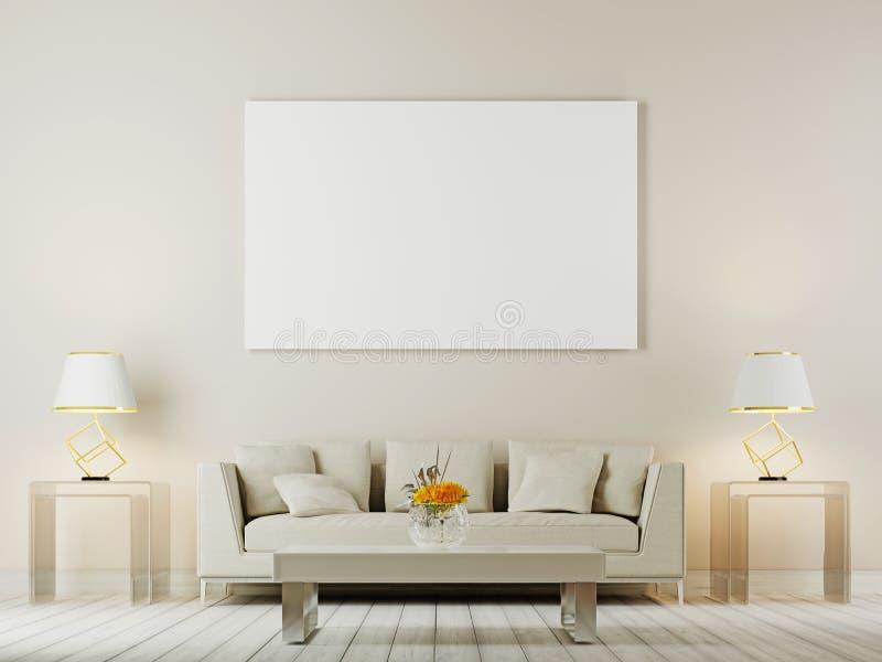 客厅内墙嘲笑与白色沙发、枕头和灯在棕色背景 皇族释放例证
