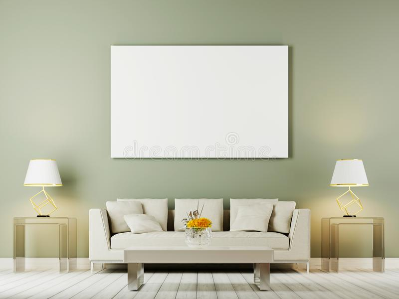 客厅内墙嘲笑与白色沙发、枕头和灯在oliwe背景 皇族释放例证