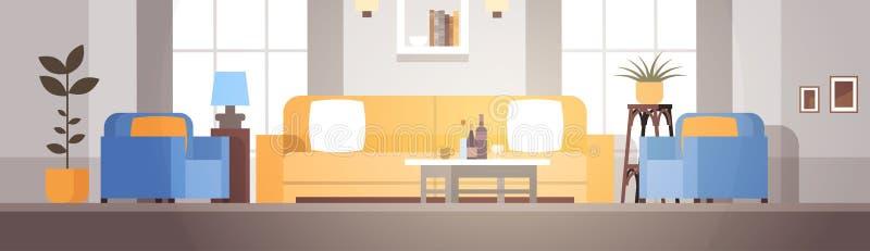 客厅内部家庭现代公寓设计 向量例证