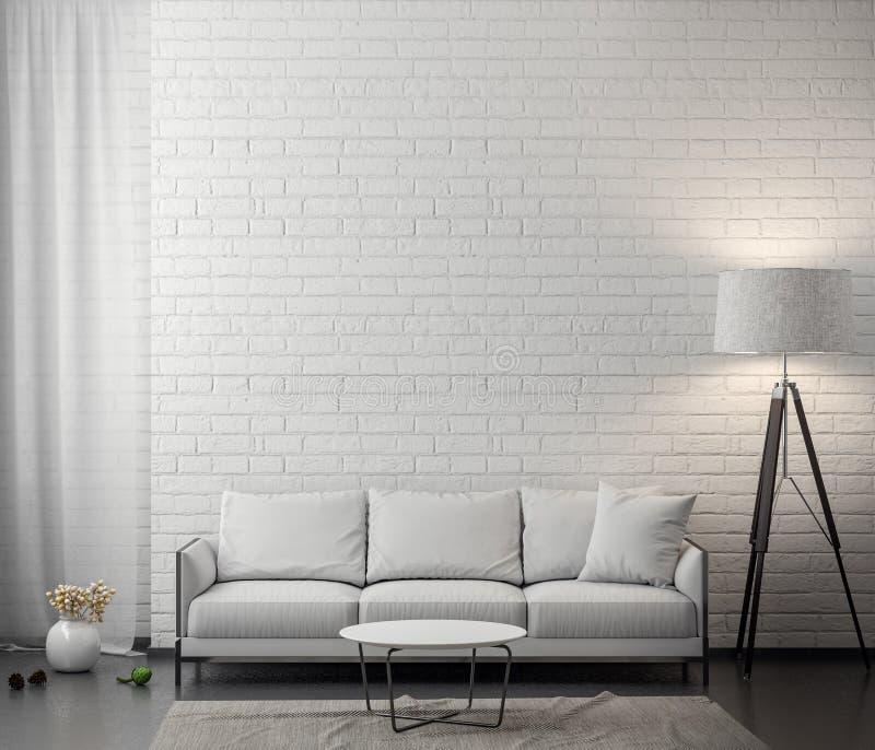 客厅内部有白色砖墙的, 3D翻译 免版税图库摄影