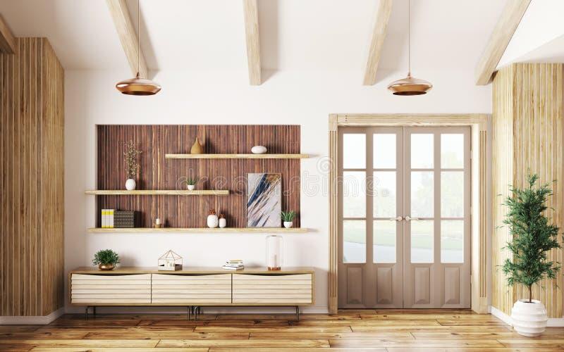客厅内部有餐具柜和门3d翻译的 向量例证
