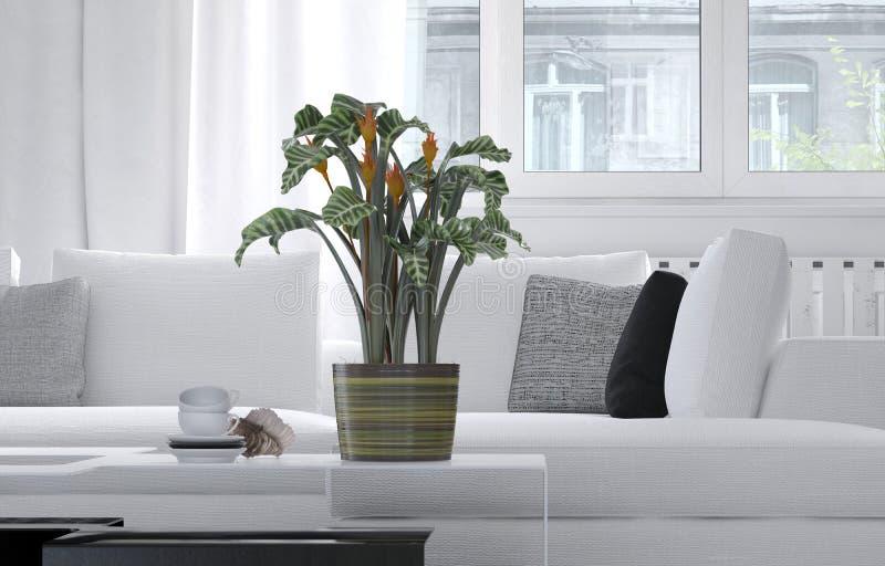客厅内部的盆的植物 库存例证