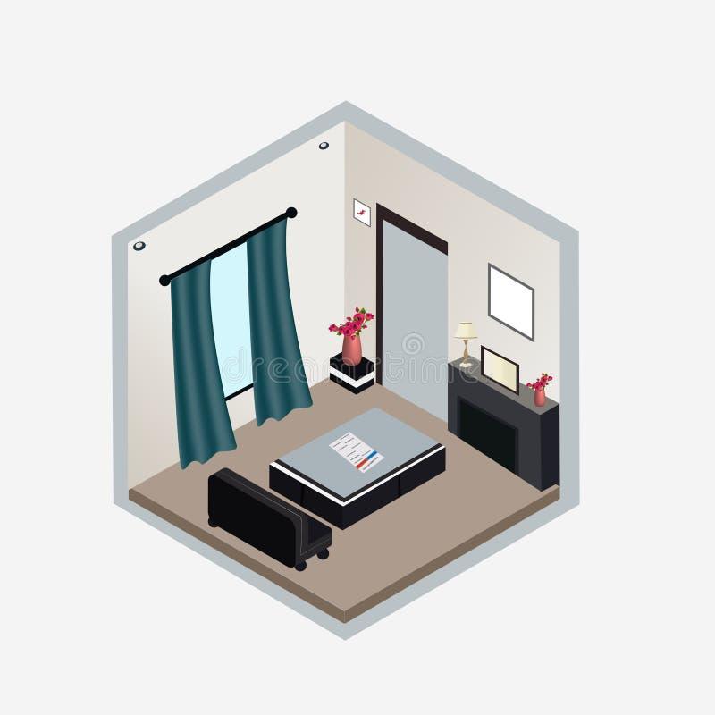 客厅内部等量设计 向量例证