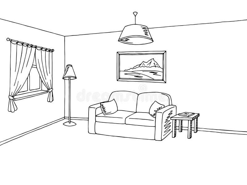 客厅内部黑白色剪影例证 皇族释放例证