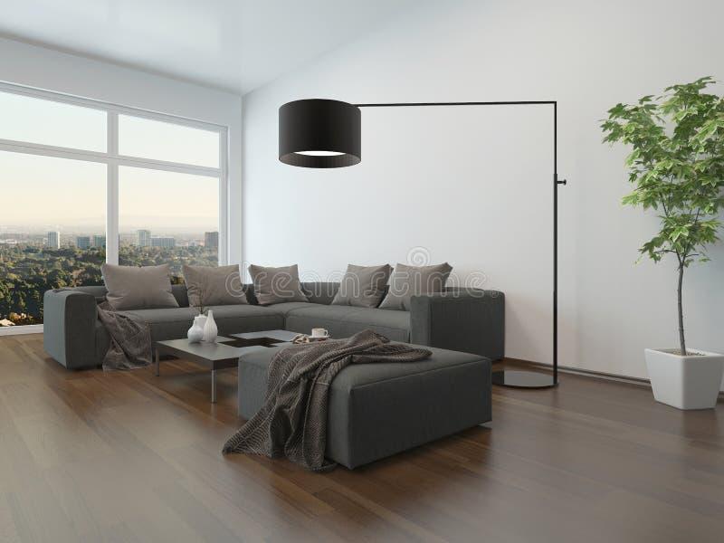 客厅内部w 灰色长沙发和落地灯 皇族释放例证
