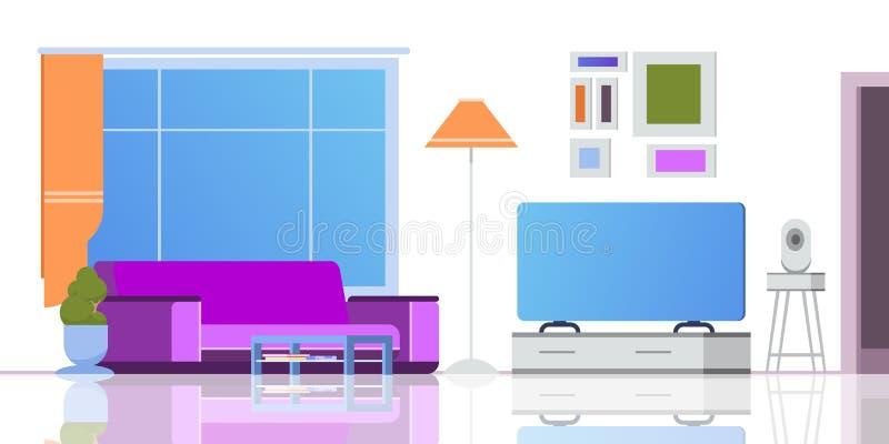 客厅动画片内部 平的顶楼公寓减速火箭的休息室现代窗口舒适长沙发豪华和杂乱视图,没人 向量例证
