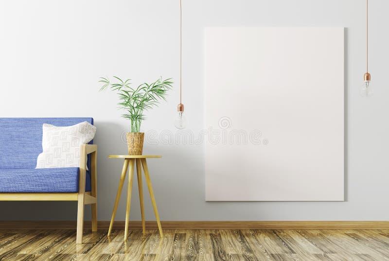 客厅和嘲笑内部有沙发的海报3d renderin的 库存例证