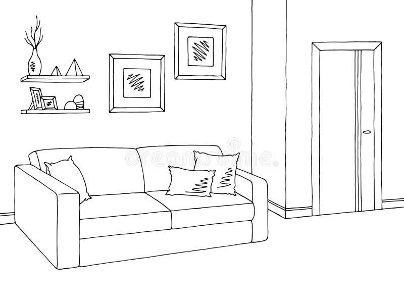 客厅图表黑白色内部剪影例证传染媒介 皇族释放例证
