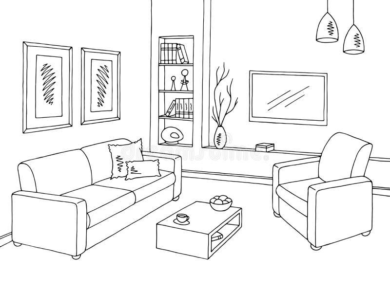 客厅图表黑白色内部剪影例证传染媒介 向量例证