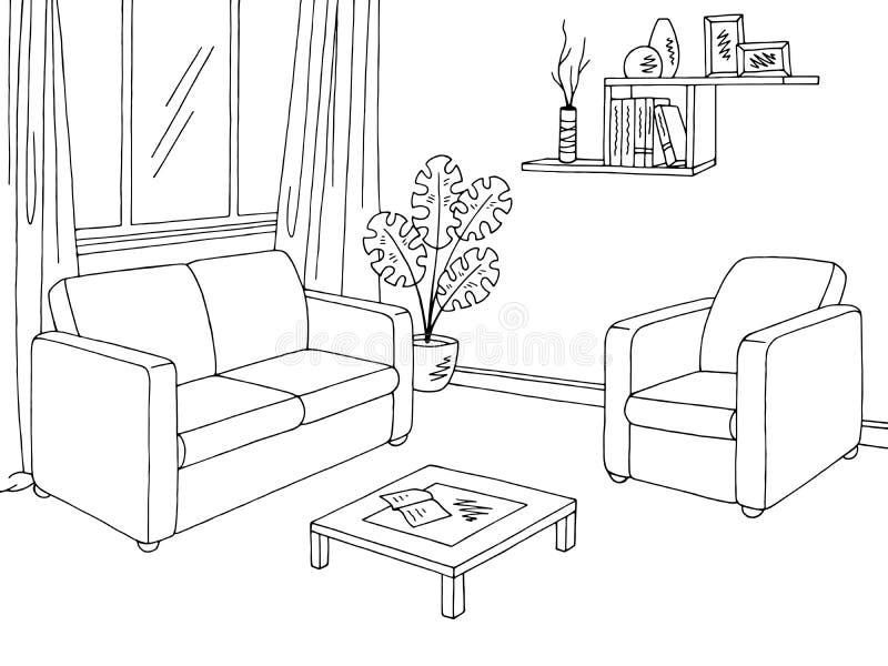 客厅图表黑白色内部剪影例证传染媒介 库存例证