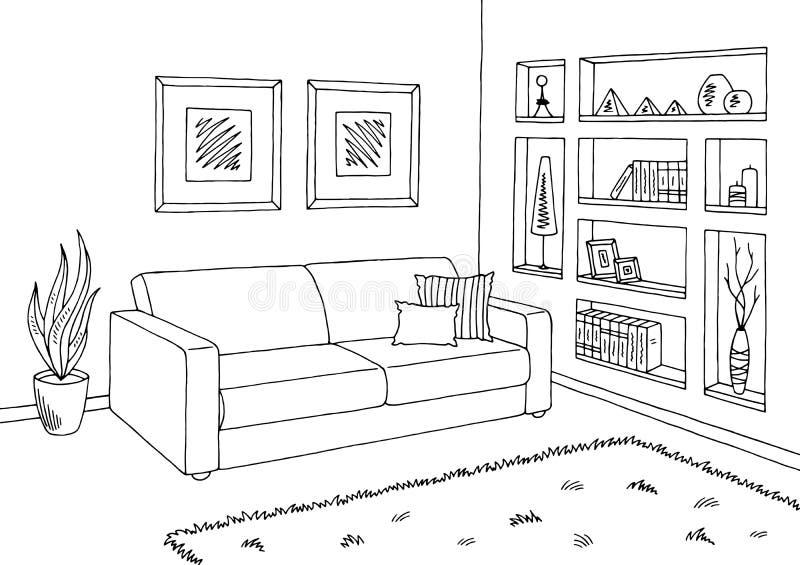 客厅图表黑白色内部剪影例证 库存例证