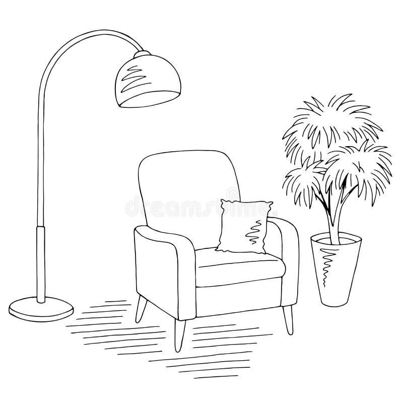客厅图表黑白色家内部剪影例证传染媒介 库存例证