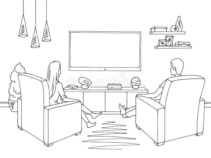 客厅图表黑白色家庭内部 速写选址观看电视例证传染媒介的妇女和人 向量例证