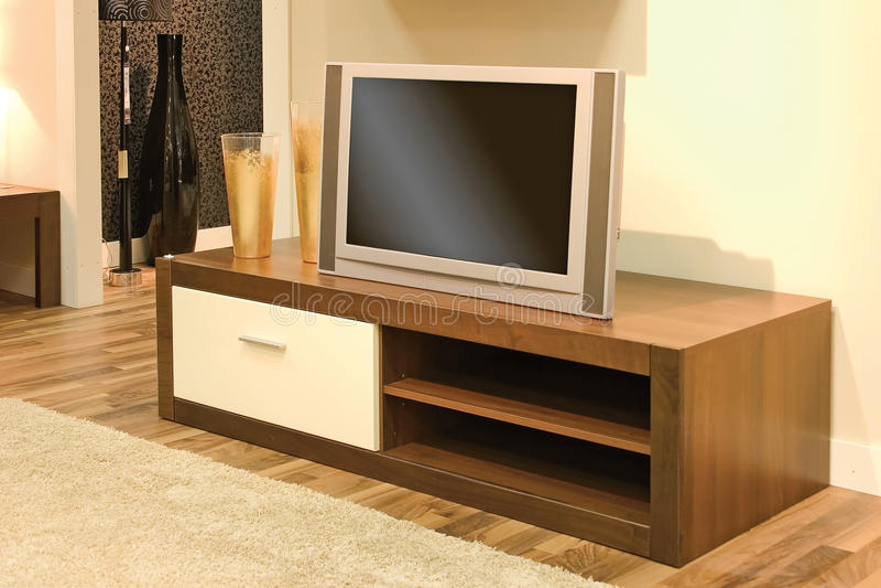 客厅套装电视 免版税库存图片
