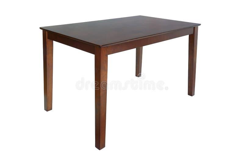客厅或厨房的木棕色饭桌 吃的典雅的经典桌,隔绝在白色背景,剪报 库存照片