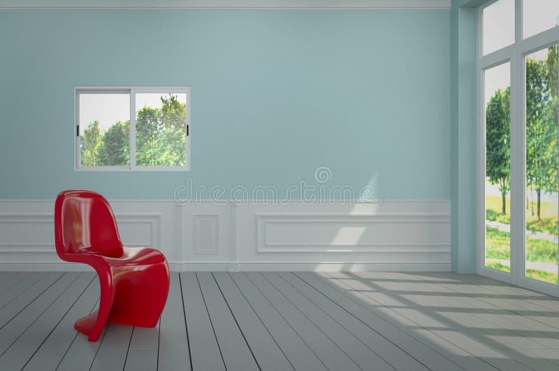 客厅有一把美丽的红色椅子,并且蓝色墙壁,3D回报图象 皇族释放例证