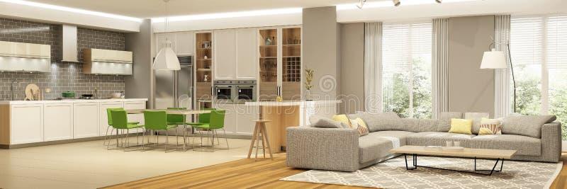 客厅现代内部有厨房在房子里或公寓的在与绿色口音的灰色颜色 免版税库存图片