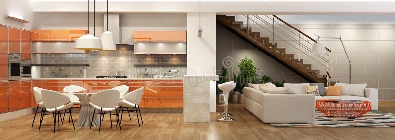 客厅现代内部有厨房的在房子或公寓里 免版税库存照片