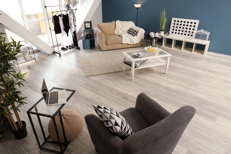 客厅现代内部有时髦的家具的 库存图片