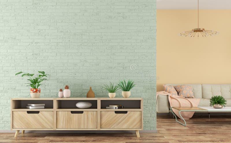 客厅现代内部有木餐具柜和沙发3d翻译的 库存例证