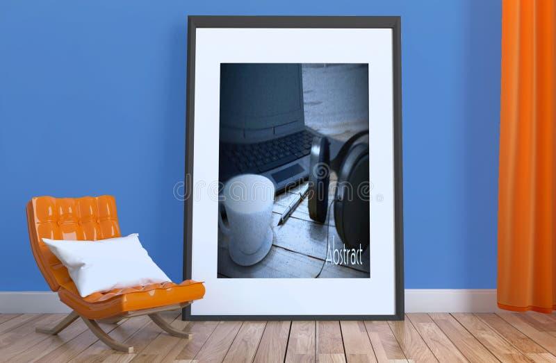 客厅现代内部有橙色沙发和铜地板的 3d?? 库存例证