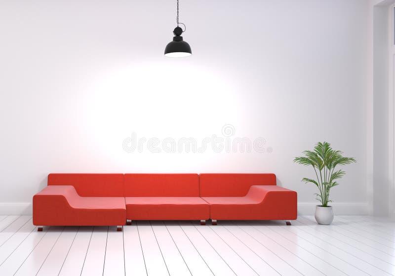 客厅现代室内设计有红色沙发和植物罐的在白色光滑的木地板上 转动在墙壁的垂悬的灯 ? 皇族释放例证