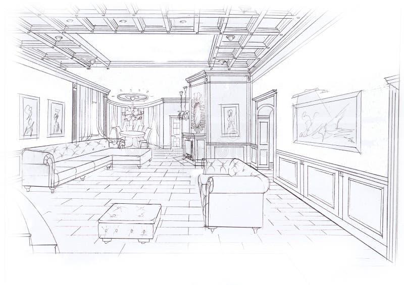 客厅的内部 皇族释放例证