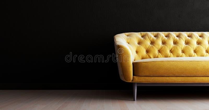 客厅的黑色内墙用金色沙发模拟,空空的白墙在左边有空间 库存例证