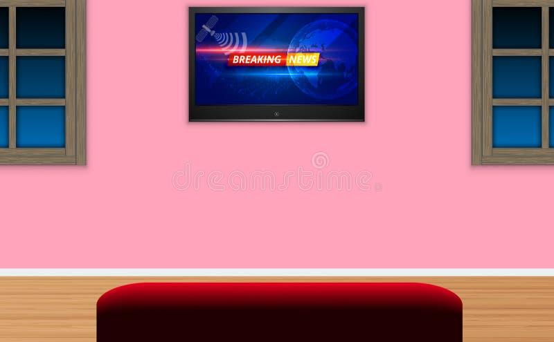 客厅里的红色沙发 皇族释放例证