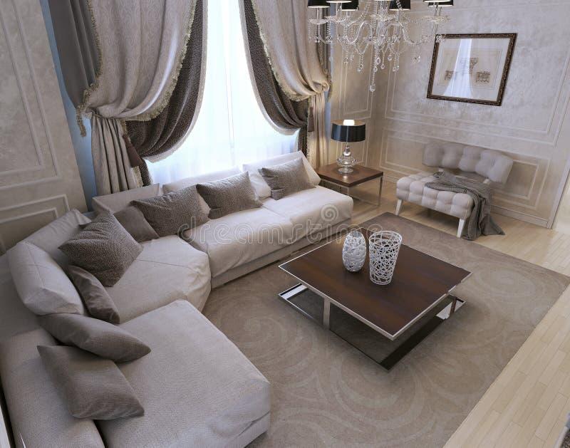 客厅,艺术装饰样式,经典样式 皇族释放例证