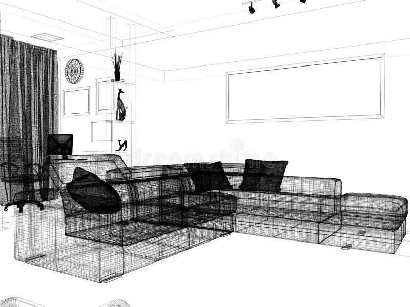 客厅,3个d翻译现代内部  向量例证