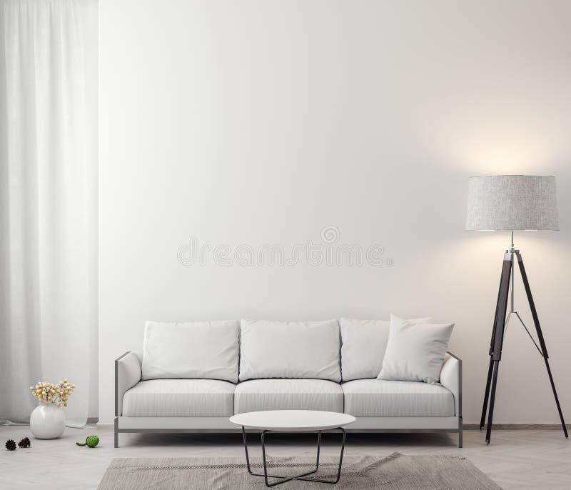 客厅, 3D内部有白色墙壁的翻译 免版税库存图片