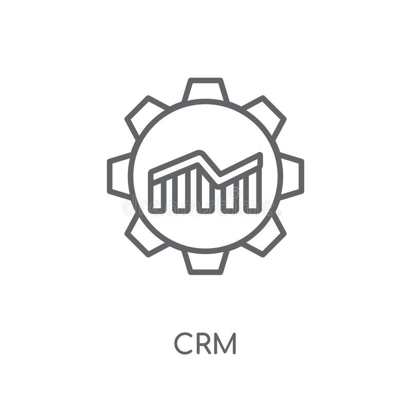 客户关系管理线性象 在白色backgr的现代概述客户关系管理商标概念 库存例证