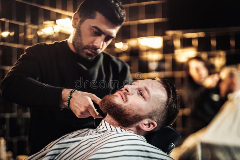 客户在理发店 库存照片