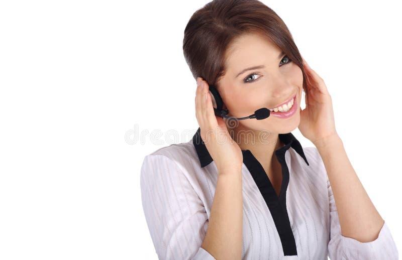 客户女孩技术支持 免版税库存图片
