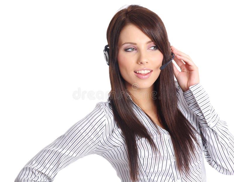 客户女孩技术支持 库存照片