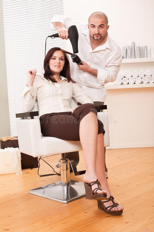 客户干毛发美发师沙龙 库存图片