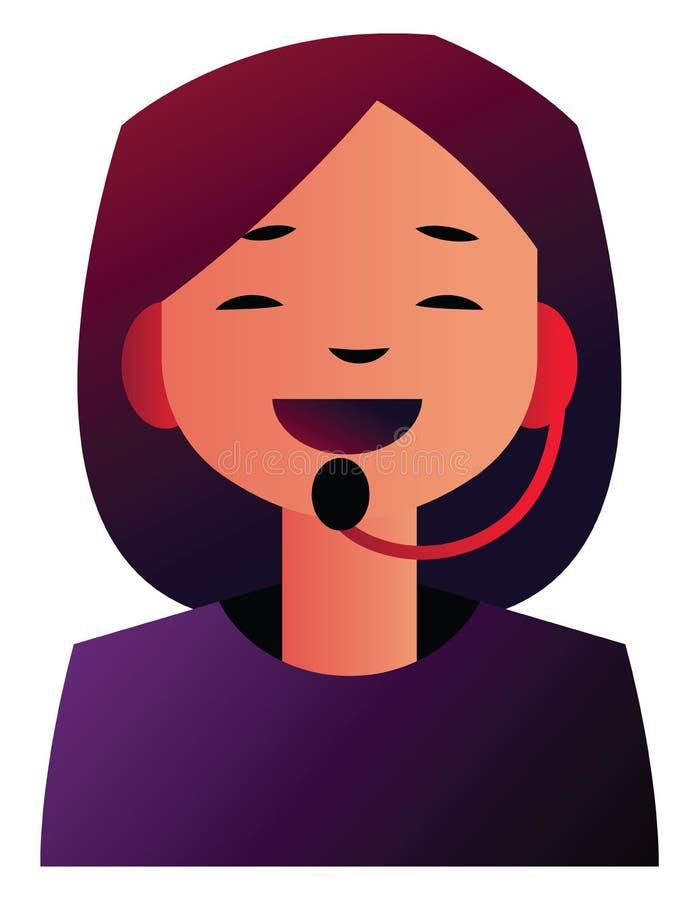 客户支持女孩在耳机上讲话的矢量图 皇族释放例证