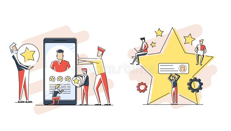客户的回顾、用户反映、用户的评论或者满意程度 三个人和评估星画象  库存例证