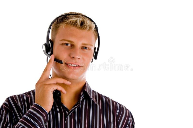 客户耳机有代表性佩带 库存照片
