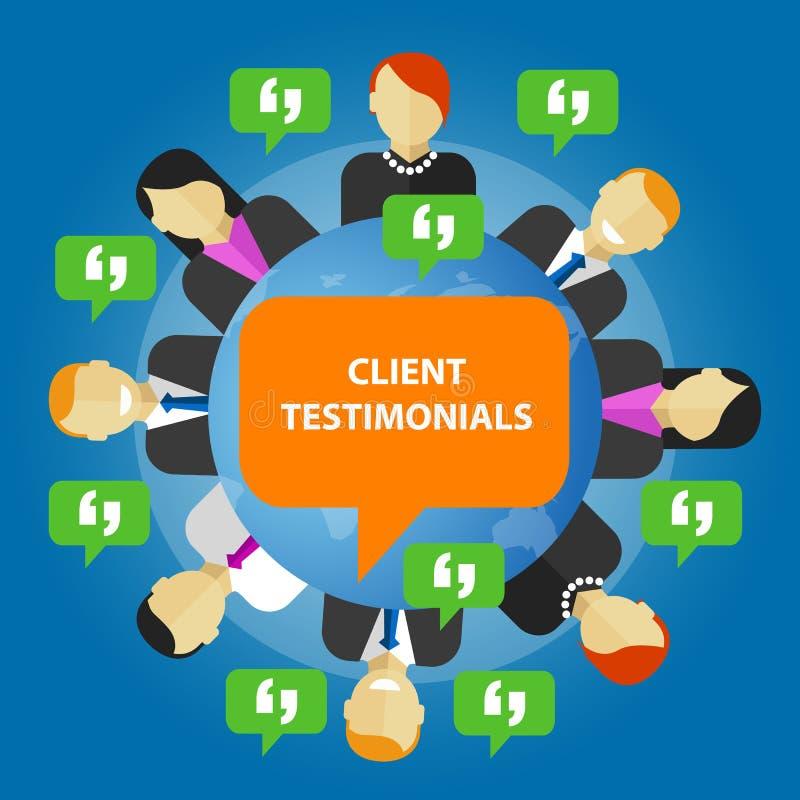 客户证明书消费者反馈服务观点 库存例证