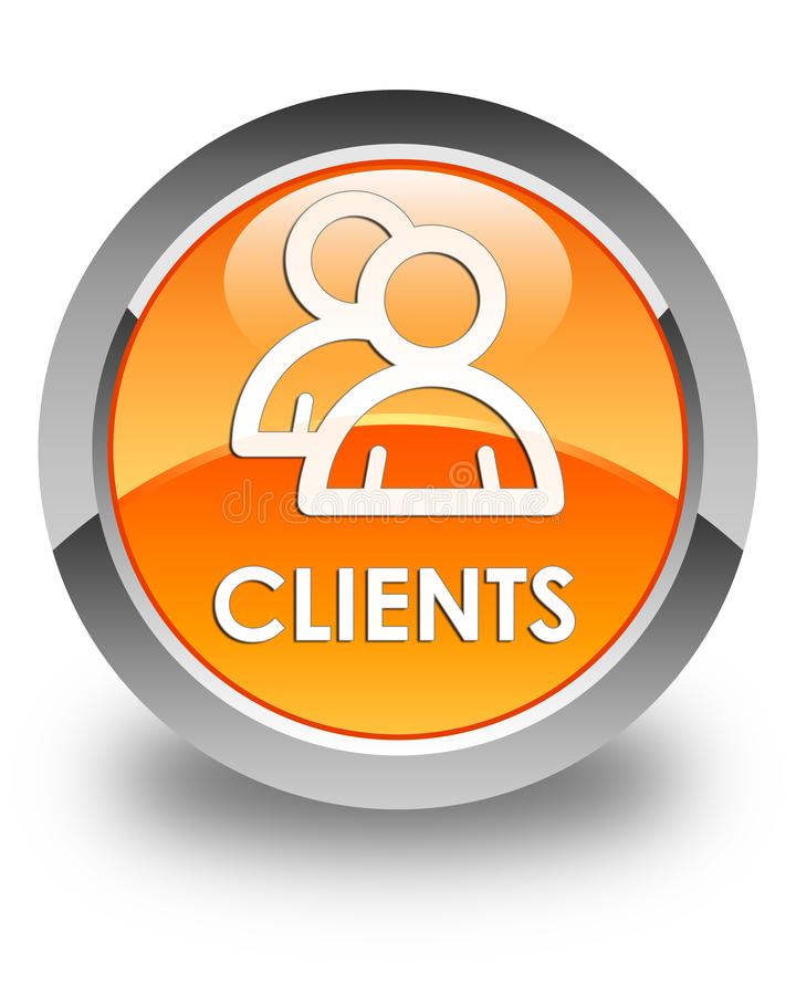 客户(组图标)光滑的橙色圆的按钮 皇族释放例证