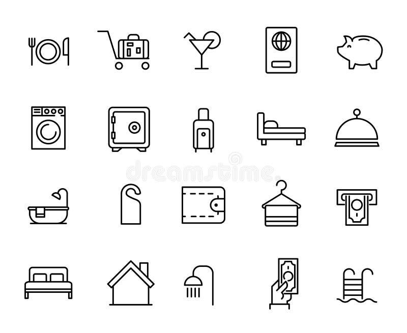 客房服务的简单的收藏关系了线象 库存例证