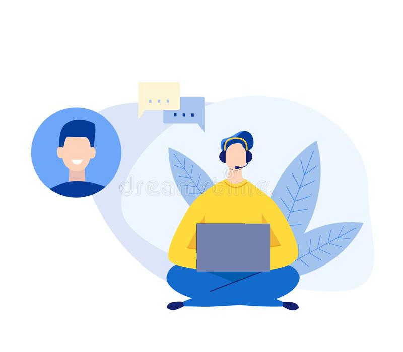 客服和操作员概念 传染媒介平的样式的字符人与耳机咨询客户的 ?? 库存例证