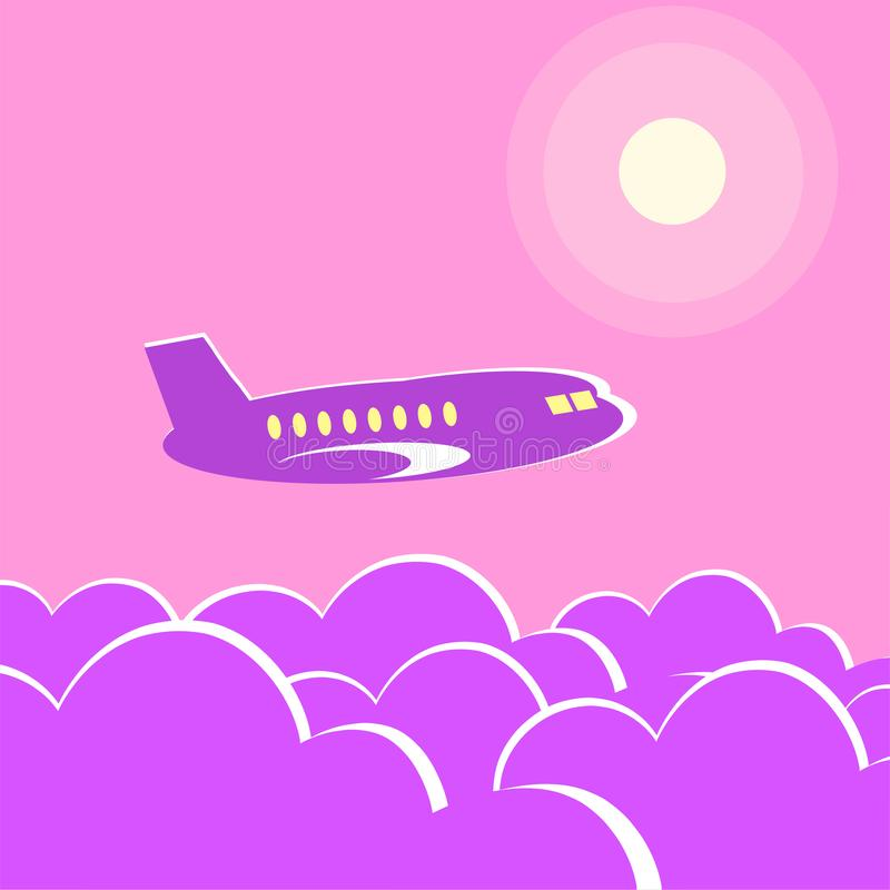 客机在晚上飞行 向量例证