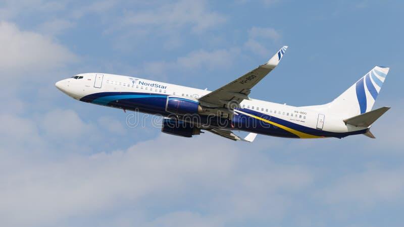 客机波音737-8K5 W, NordStar航空公司 免版税图库摄影