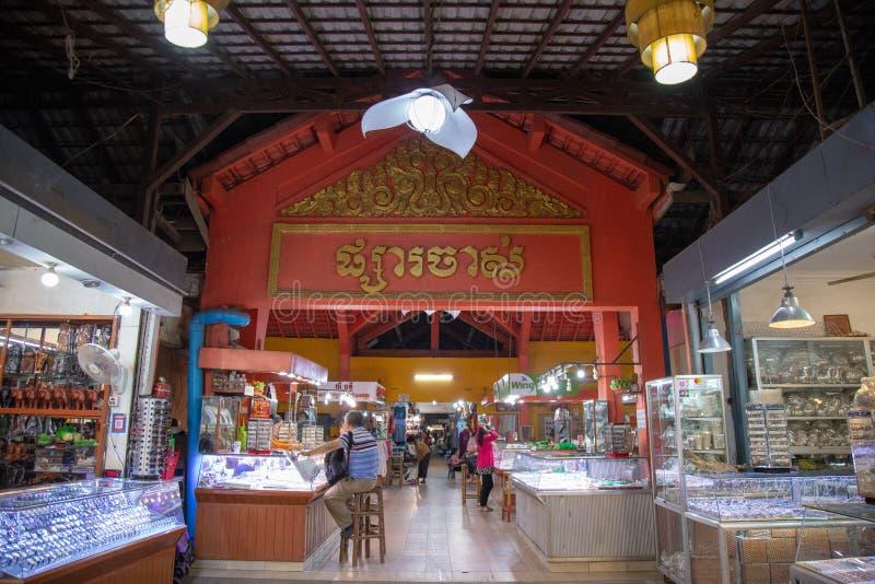 客栈街道,暹粒,柬埔寨 免版税库存照片