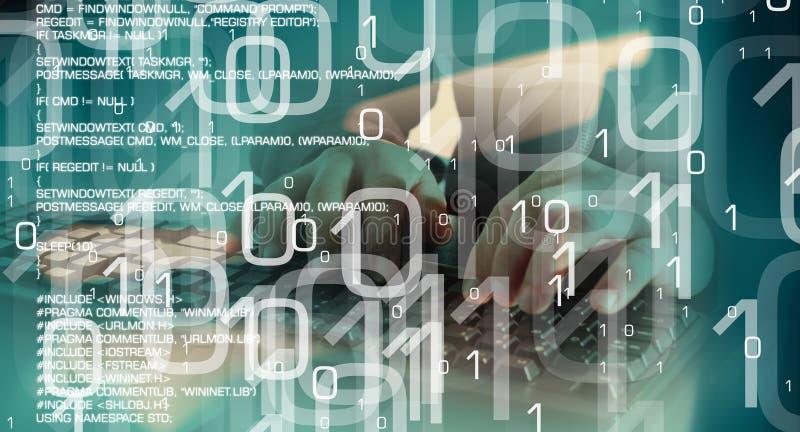 黑客网络攻击,未来派计算机犯罪 库存例证