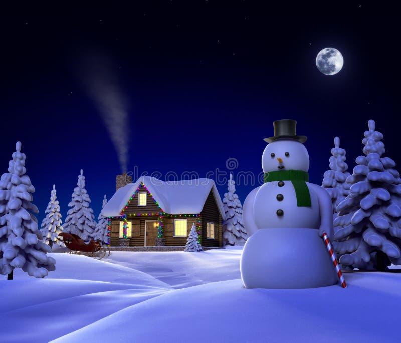 客舱圣诞节雪 库存例证