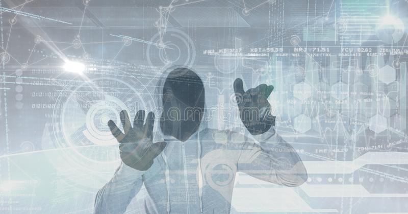 黑客触摸屏的数字式综合图象 皇族释放例证